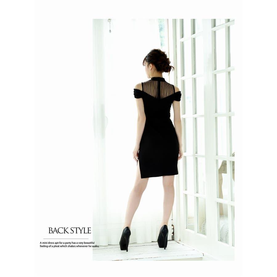 キャバ ドレス キャバドレス キャバクラ キャバワンピース パーティードレス Belsia ワンカラー リボン ブローチ タイト SM L XL ブラック 黒 7