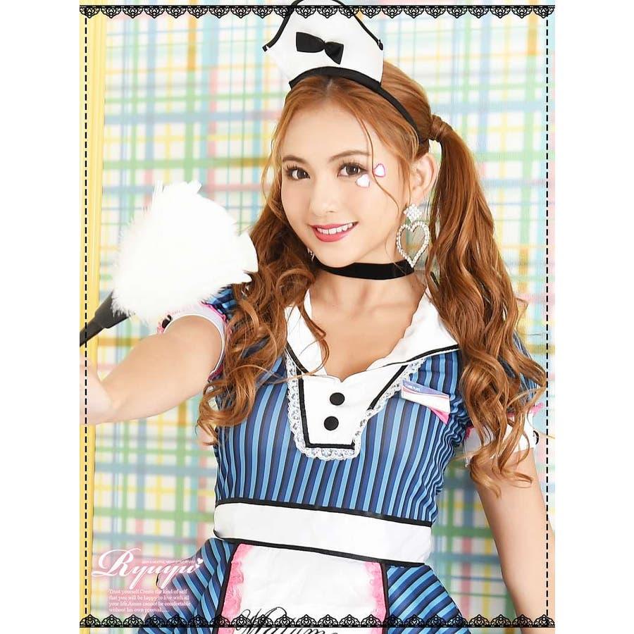 コスプレ 衣装 コスチューム コンパニオン 衣装 パーティー 仮装 Ryuyu ウェイトレス ゴスロリ メイド ダイナーガールフリーサイズ ブルー 青 セクシー かわいい 3