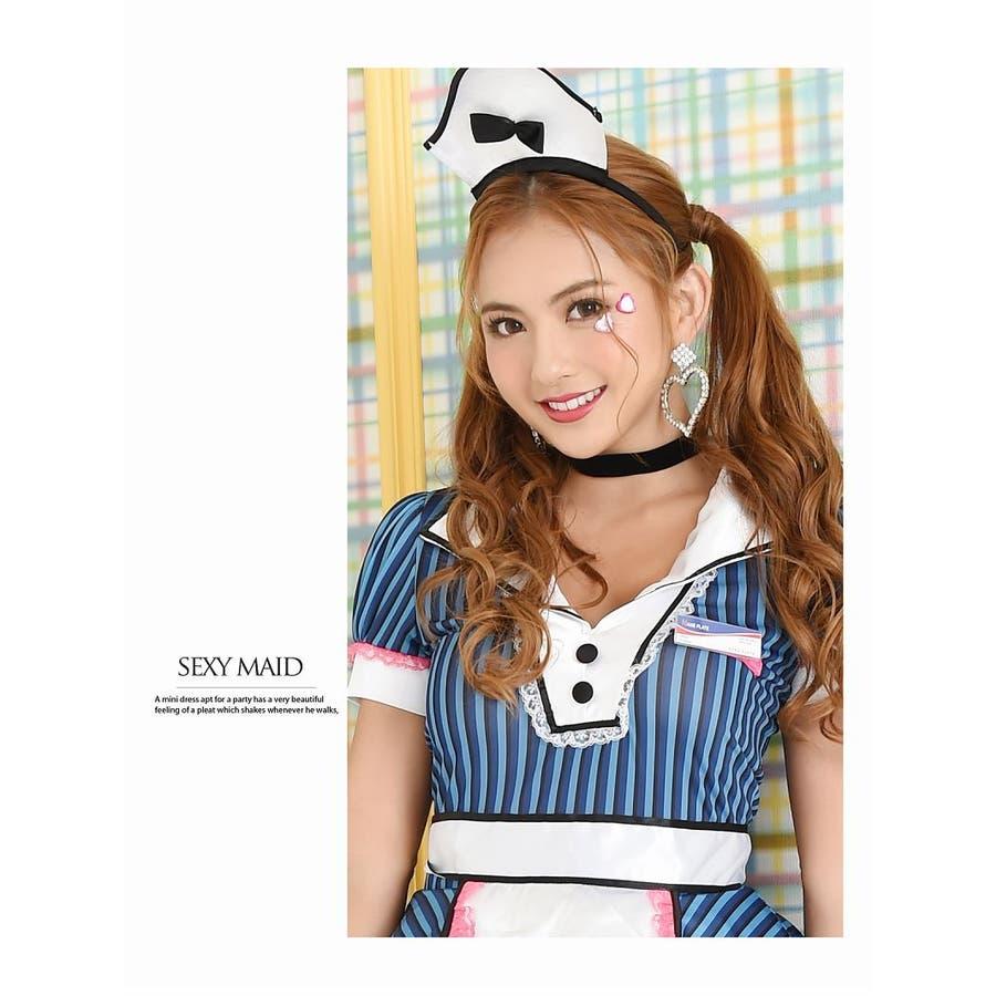 コスプレ 衣装 コスチューム コンパニオン 衣装 パーティー 仮装 Ryuyu ウェイトレス ゴスロリ メイド ダイナーガールフリーサイズ ブルー 青 セクシー かわいい 8