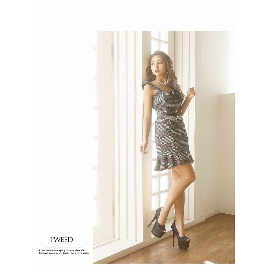 キャバ ドレス キャバドレス キャバクラ セットアップドレス パーティードレス Ryuyu チェック柄 ブローチ パール 裾フリル SM L ブラック 黒 オケージョン 2