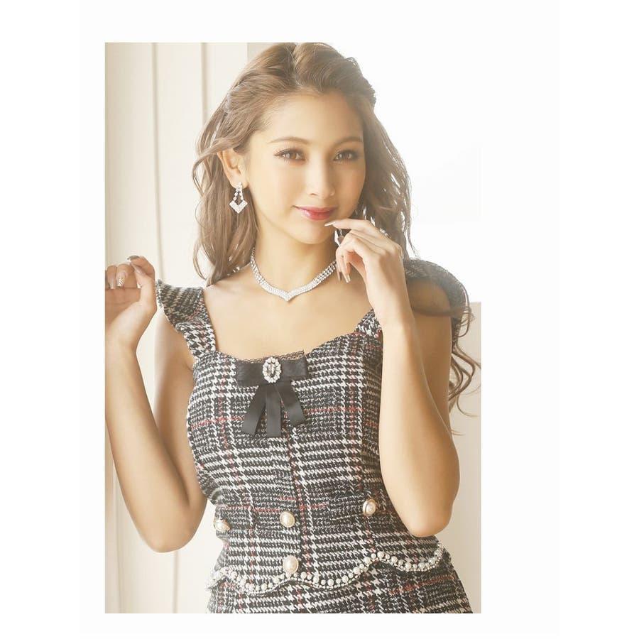 キャバ ドレス キャバドレス キャバクラ セットアップドレス パーティードレス Ryuyu チェック柄 ブローチ パール 裾フリル SM L ブラック 黒 オケージョン 4