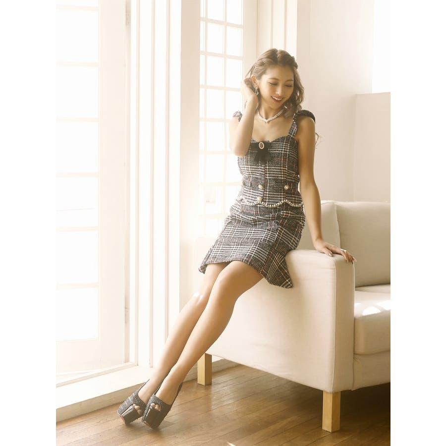 キャバ ドレス キャバドレス キャバクラ セットアップドレス パーティードレス Ryuyu チェック柄 ブローチ パール 裾フリル SM L ブラック 黒 オケージョン 5
