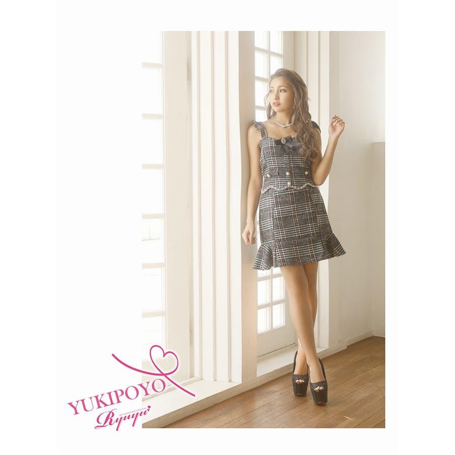 キャバ ドレス キャバドレス キャバクラ セットアップドレス パーティードレス Ryuyu チェック柄 ブローチ パール 裾フリル SM L ブラック 黒 オケージョン 7