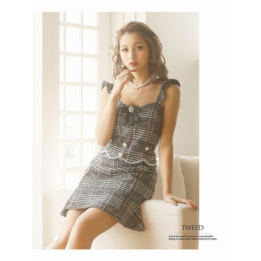 キャバ ドレス キャバドレス キャバクラ セットアップドレス パーティードレス Ryuyu チェック柄 ブローチ パール 裾フリル SM L ブラック 黒 オケージョン 8