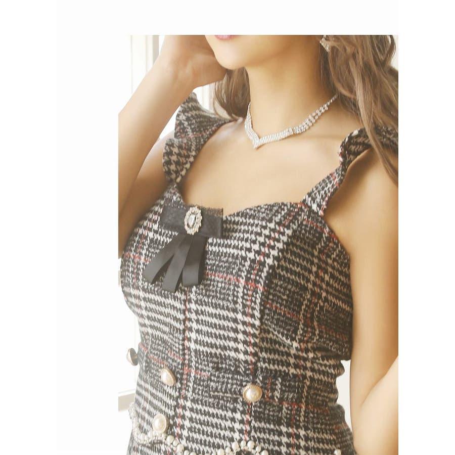 キャバ ドレス キャバドレス キャバクラ セットアップドレス パーティードレス Ryuyu チェック柄 ブローチ パール 裾フリル SM L ブラック 黒 オケージョン 9