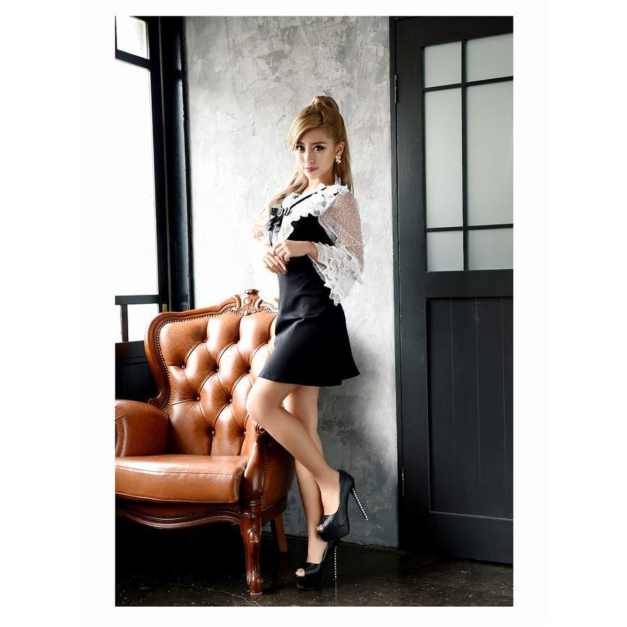 キャバ ドレス キャバドレス キャバクラ キャバワンピース パーティードレス Ryuyu キャバクラドレス リボンブローチ ミニ丈Aライン S M L ブラック 2