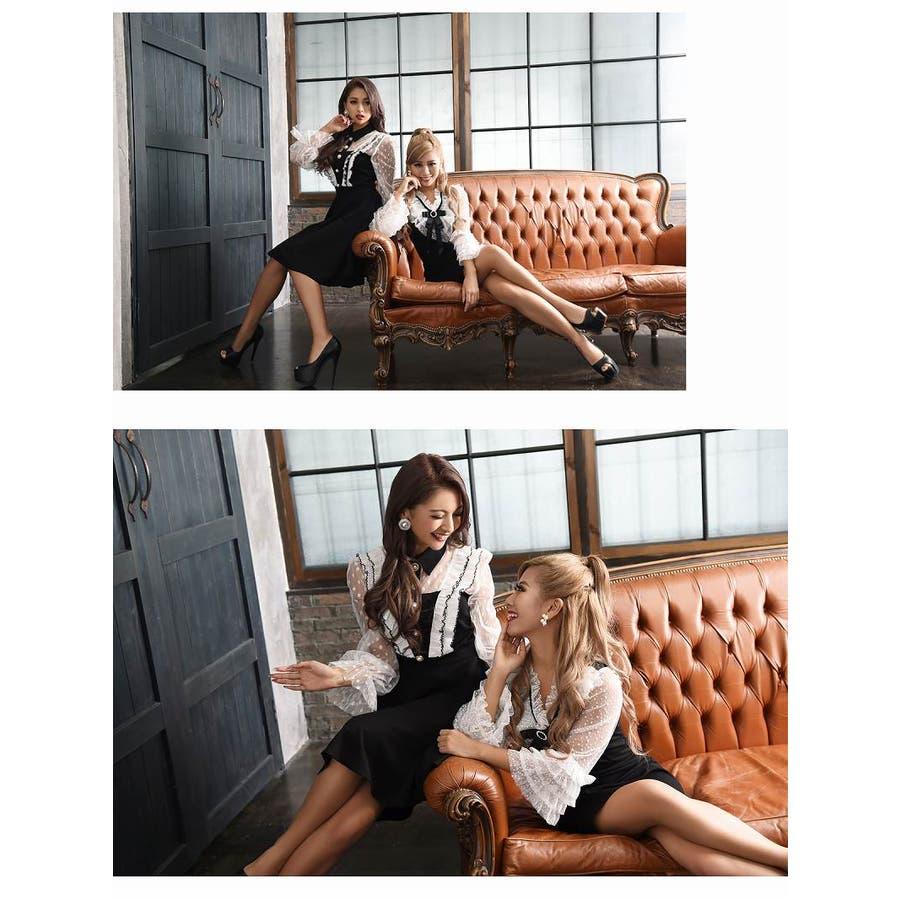 キャバ ドレス キャバドレス キャバクラ キャバワンピース パーティードレス Ryuyu キャバクラドレス リボンブローチ ミニ丈Aライン S M L ブラック 6