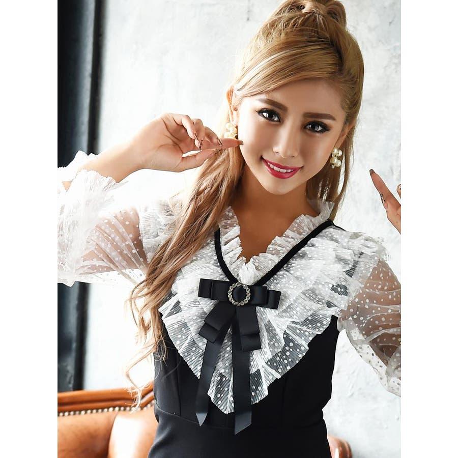 キャバ ドレス キャバドレス キャバクラ キャバワンピース パーティードレス Ryuyu キャバクラドレス リボンブローチ ミニ丈Aライン S M L ブラック 8