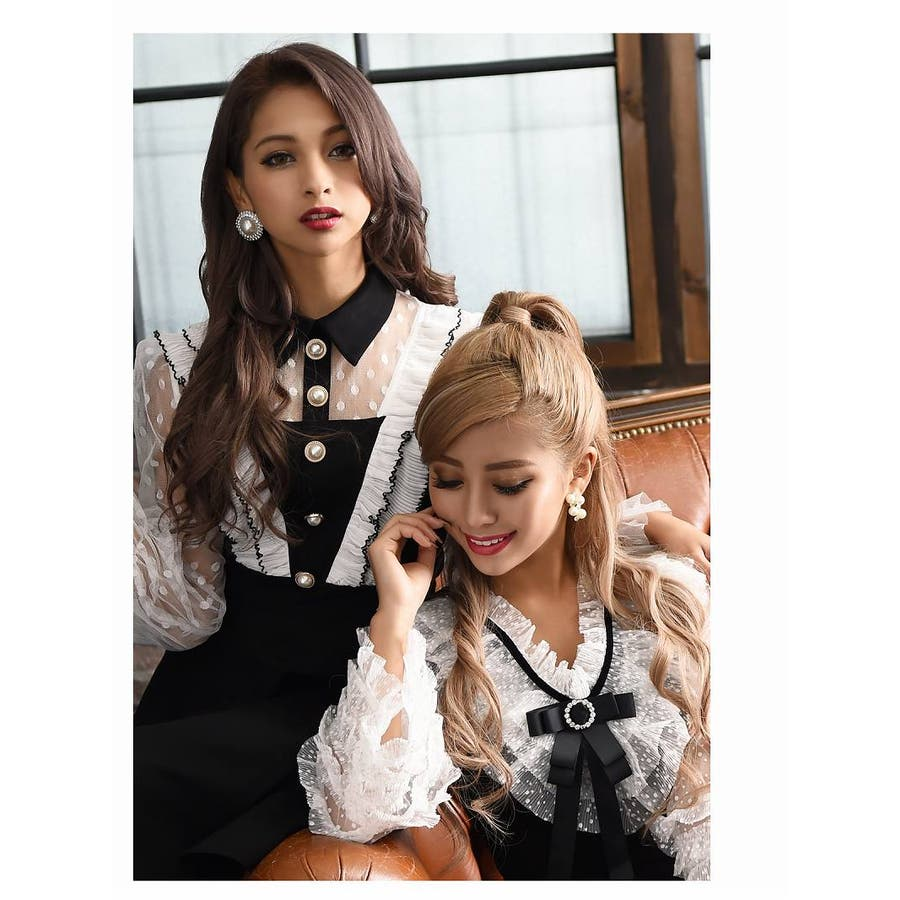 キャバ ドレス キャバドレス キャバクラ キャバワンピース パーティードレス Ryuyu キャバクラドレス リボンブローチ ミニ丈Aライン S M L ブラック 9