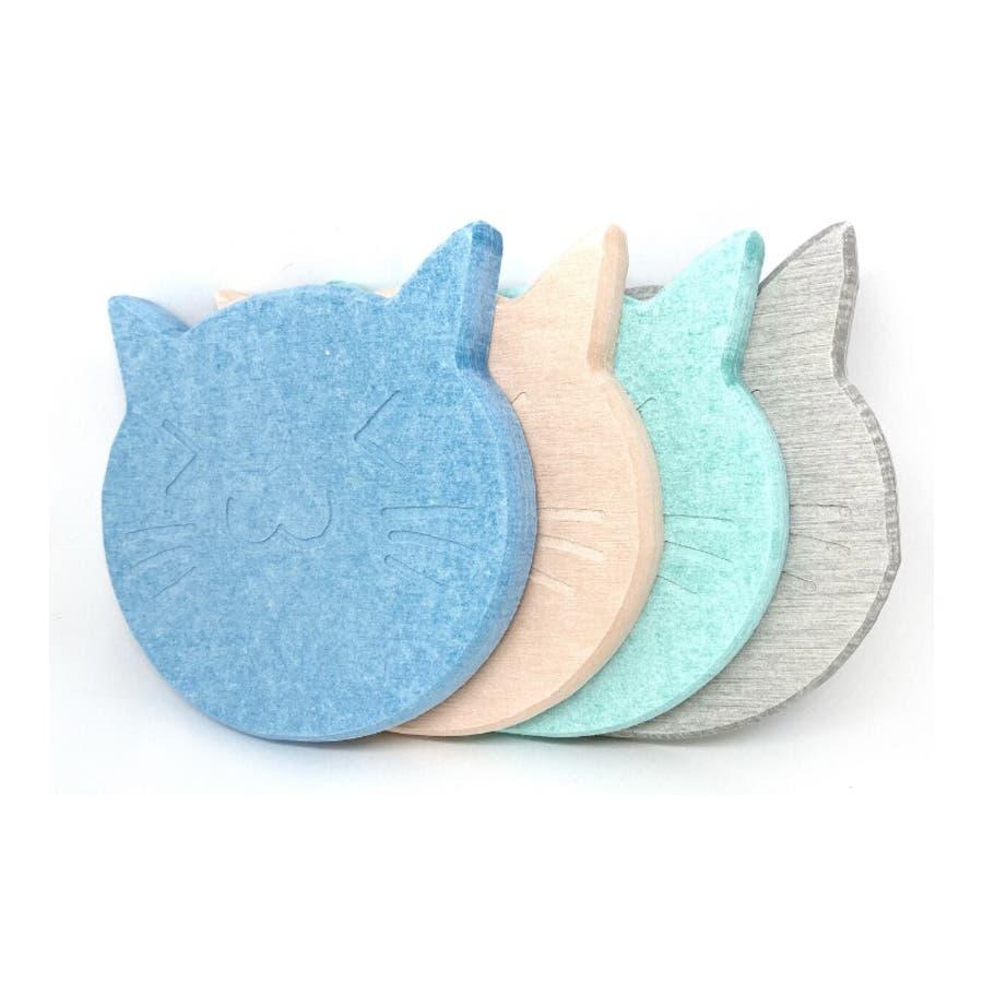 猫の珪藻土コースター コースター ネコ 4色 3