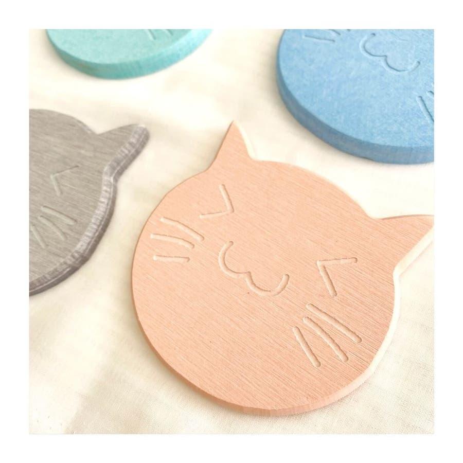 猫の珪藻土コースター コースター ネコ 4色 6