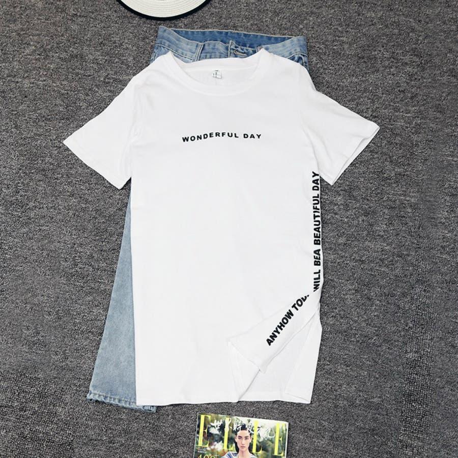 レディースファッション通販Tシャツ ロング丈シャツ 春 夏 スリットTシャツ カジュアル体型カバー ゆったり おしゃれ 字母 ロゴ Tシャツ 半袖 トップス レディース サイドスリット ラウンドネック シンプル 8