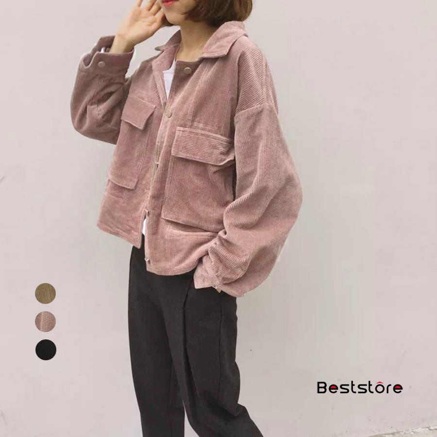 レディースファッション通販韓国風 シャツ長袖 おしゃれ シンプル ジャケット・ブルゾン・コーデュロイ 春秋冬 CPOジャケット コーデュロイジャケット 124