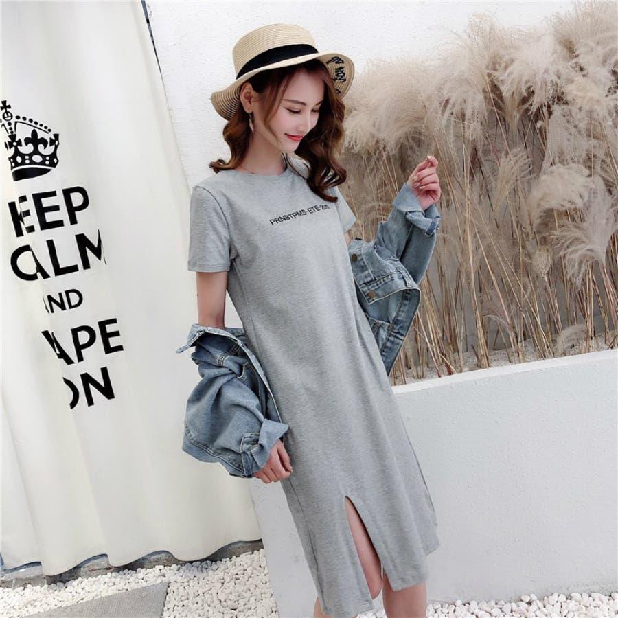 レディースファッション通販とろみ素材サイドスリットロングTシャツゆったり英字プリントTシャツ 2