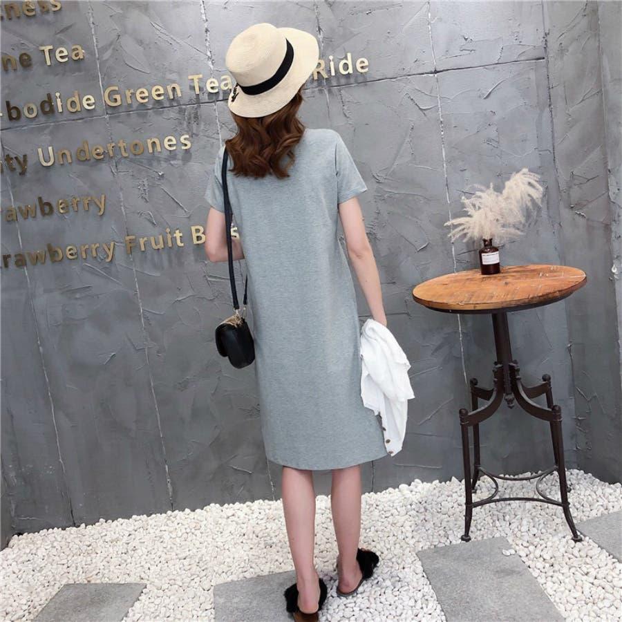 レディースファッション通販とろみ素材サイドスリットロングTシャツゆったり英字プリントTシャツ 4