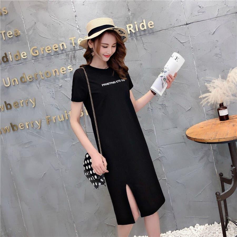 レディースファッション通販とろみ素材サイドスリットロングTシャツゆったり英字プリントTシャツ 7