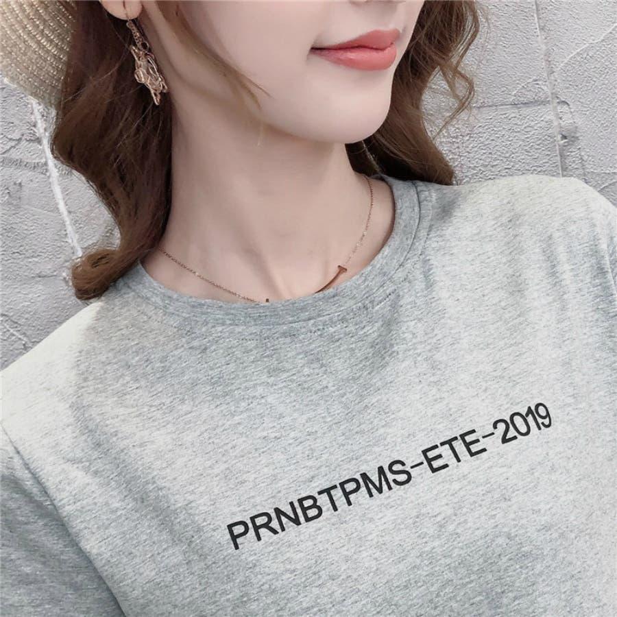 レディースファッション通販とろみ素材サイドスリットロングTシャツゆったり英字プリントTシャツ 9