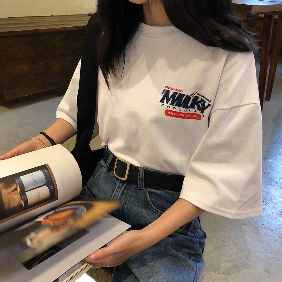 レディースファッション通販2020新作 オーバーサイズのTシャツにインパクト カジュアル ユーズド 古着 アメカジ POP ポップ ロゴT 大きいサイズ オーバーサイズ トップス 半袖 春 夏 3