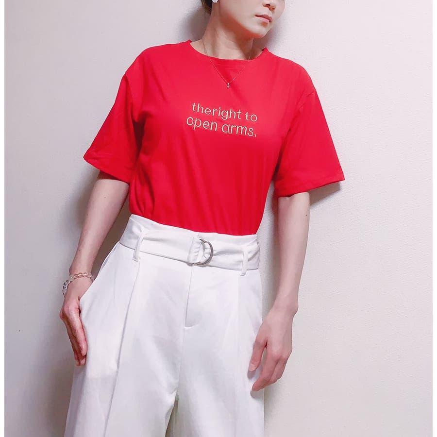 レディースファッション通販トップス レディース 半袖 tシャツ 刺繍 ロゴtシャツ レディース クルーネック 半袖 トップス レディース 刺しゅうカットソー半袖tシャツ レディース tシャツ 98