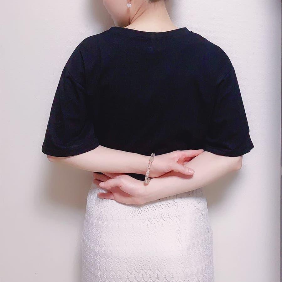 レディースファッション通販トップス レディース 半袖 tシャツ 刺繍 ロゴtシャツ レディース クルーネック 半袖 トップス レディース 刺しゅうカットソー半袖tシャツ レディース tシャツ 9