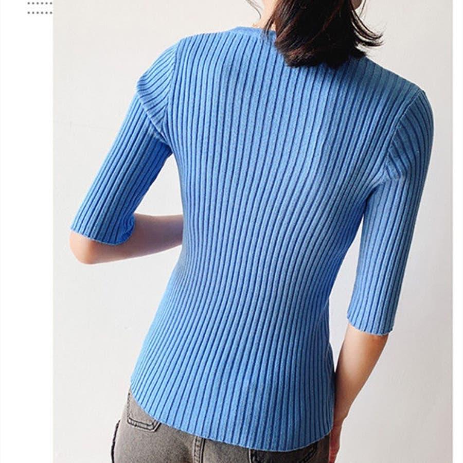 レディースファッション通販カットソー ニットTシャツ スリーブニットシャツ トップス ニット 無地 リラックス 韓国 レディースファッション二の腕を隠すTシャツ レディース おしゃれ 人気 トップス ゆったり Vネック 五分袖 シンプル ふわり チュール カジュアル 8