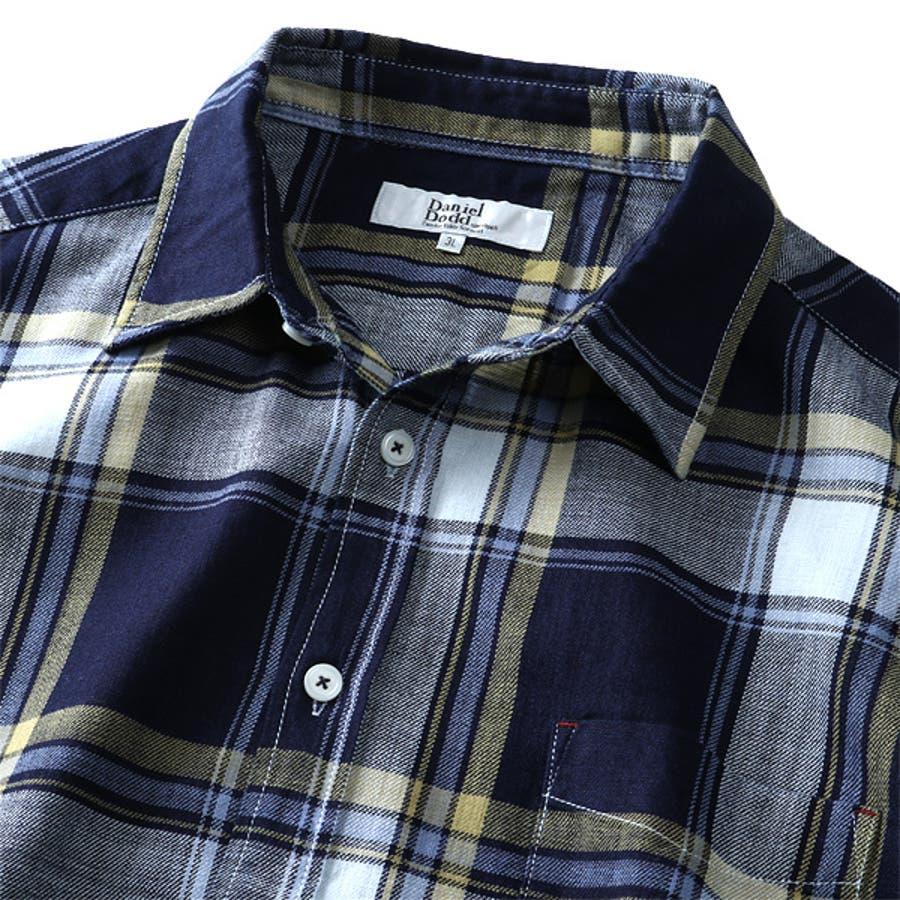 大きいサイズ メンズ DANIEL DODD 半袖 インディゴ チェック柄 レギュラー シャツ 916-200228 6