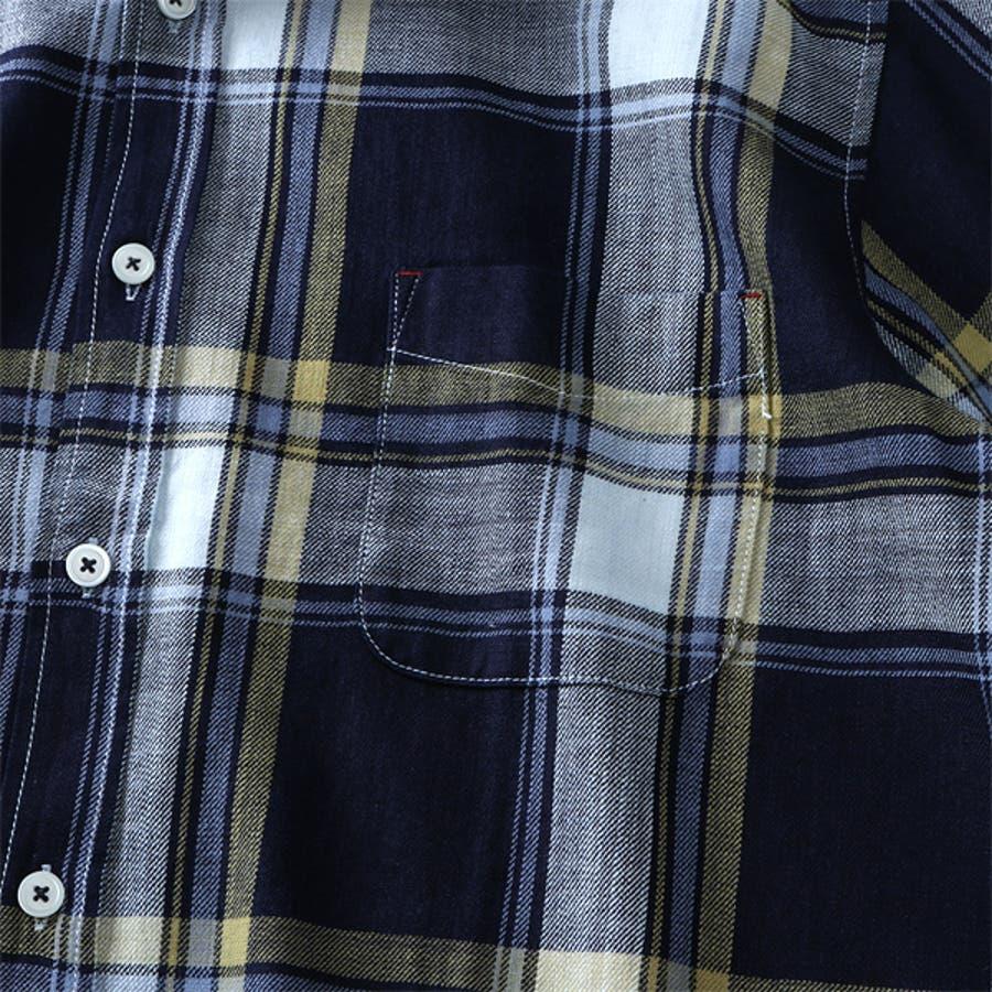 大きいサイズ メンズ DANIEL DODD 半袖 インディゴ チェック柄 レギュラー シャツ 916-200228 7