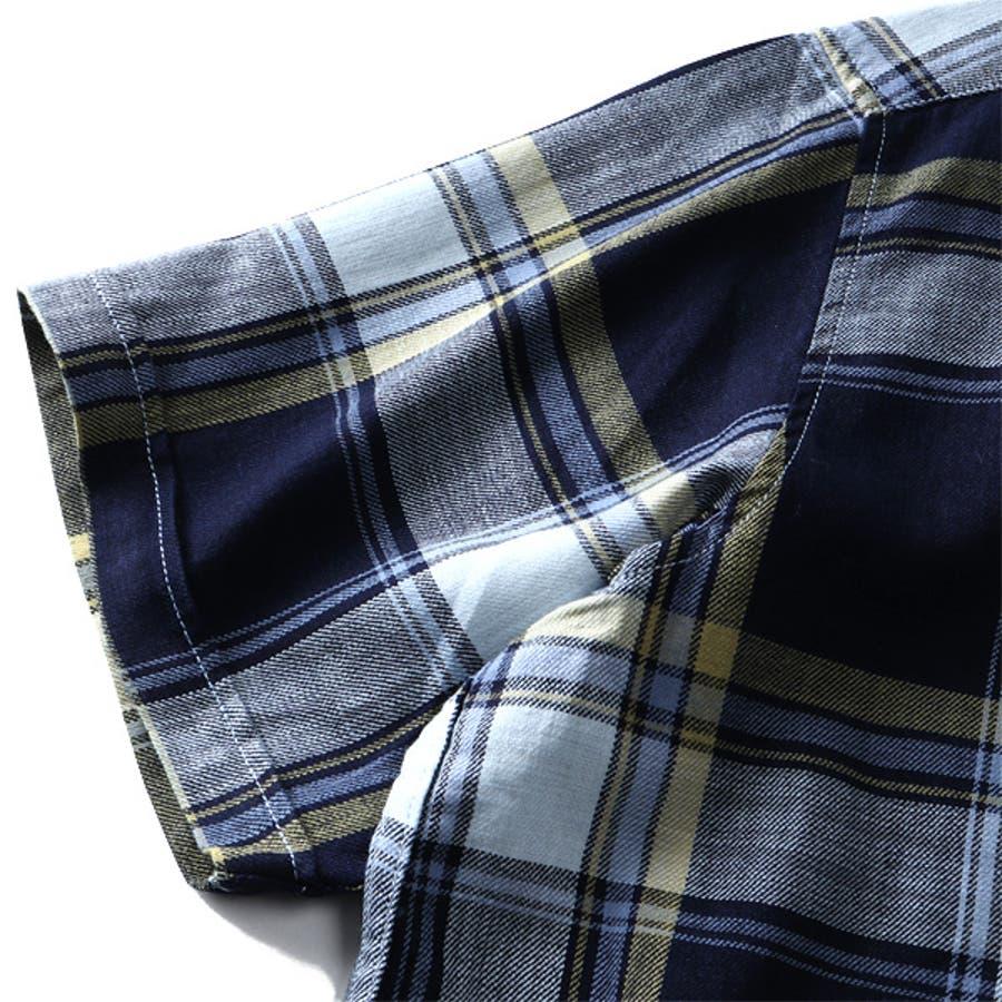 大きいサイズ メンズ DANIEL DODD 半袖 インディゴ チェック柄 レギュラー シャツ 916-200228 8