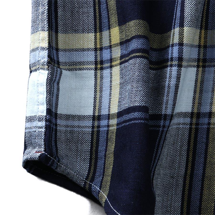 大きいサイズ メンズ DANIEL DODD 半袖 インディゴ チェック柄 レギュラー シャツ 916-200228 9