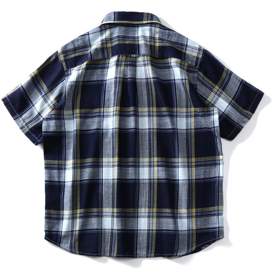 大きいサイズ メンズ DANIEL DODD 半袖 インディゴ チェック柄 レギュラー シャツ 916-200228 10