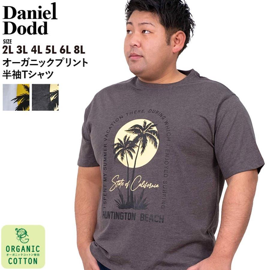 大きいサイズ メンズ DANIEL DODD オーガニック プリント 半袖 Tシャツ HUNTINGTON BEACHazt-200263 1