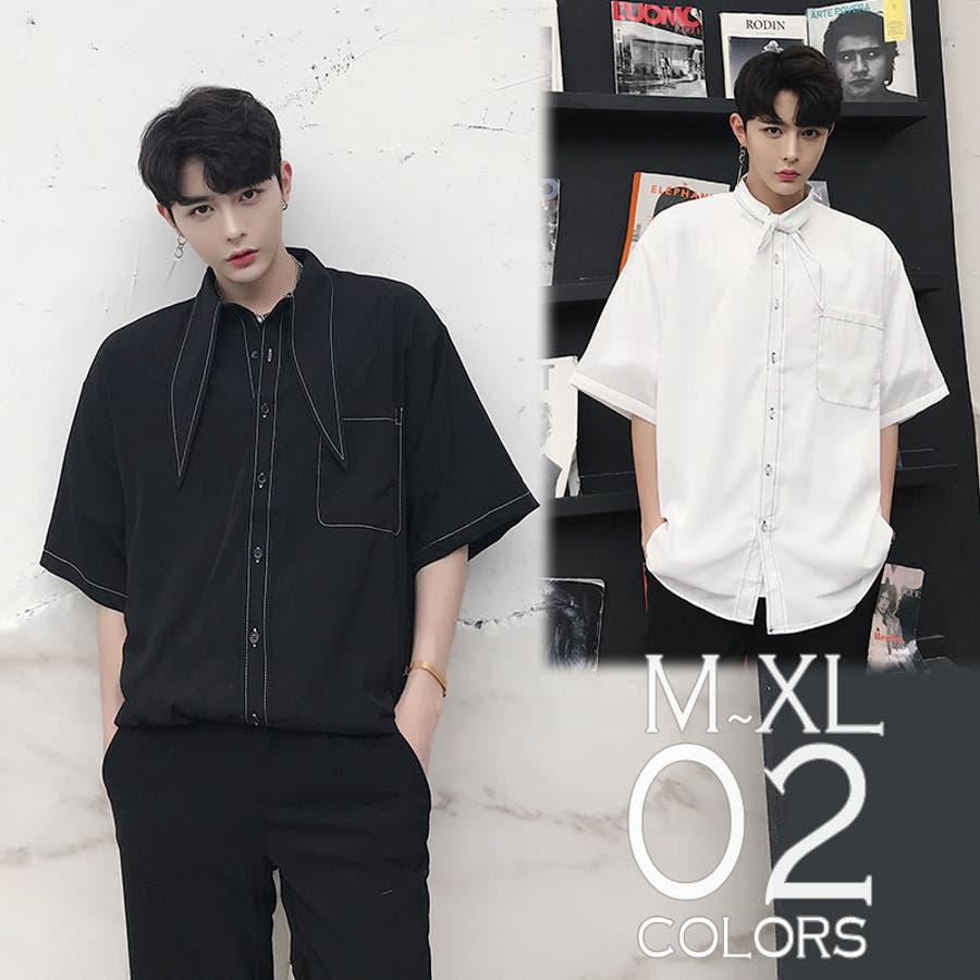 デザインシャツ ショートスリーブ 半袖 ボタンダウン ゆったり メンズ メンズファッション 長袖 インナー 韓国ファッションストリート