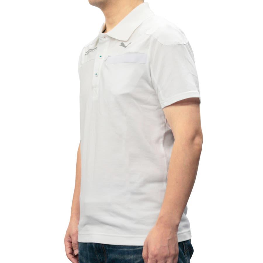 プーマ メンズ トップス PUMA 562572 メルセデス ベンツ ポロシャツ | 春 夏 半袖 プリント ブランドモータースポーツ 車 高級車 セレブ スリム ホワイト ブラック 白 黒 シンプル xs s 襟付き おしゃれ MERCEDESAMG puma 綿100 コットン100 エンブレム ベンツ 4