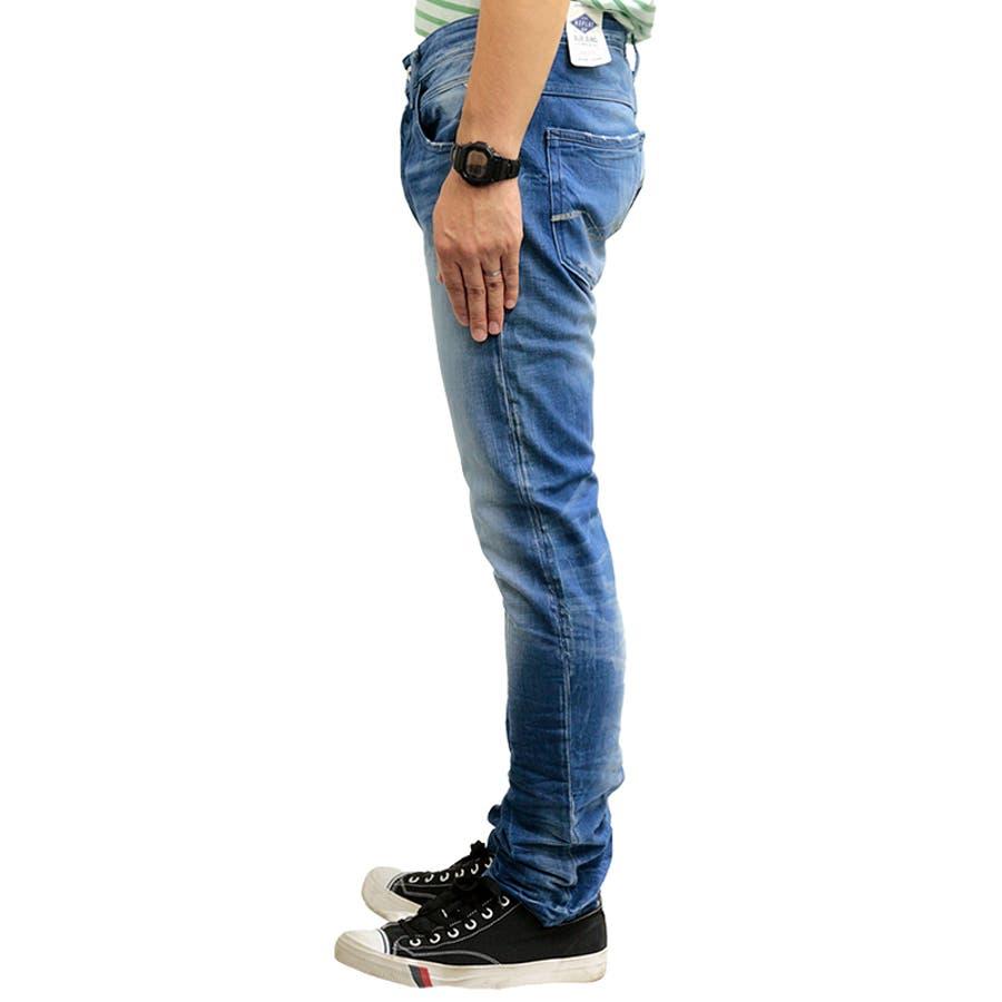 リプレイ メンズ ボトムス ジーンズ REPLAY MA954Q AROTT SLIM LOW CROTCH | Gパン ロングパンツパンツ ブルー おしゃれ かっこいい カジュアル ボタンフライ 男性 ブランド replay ロゴ 刺繍 ヴィンテージ 加工 ヒゲ洗い リンス 5