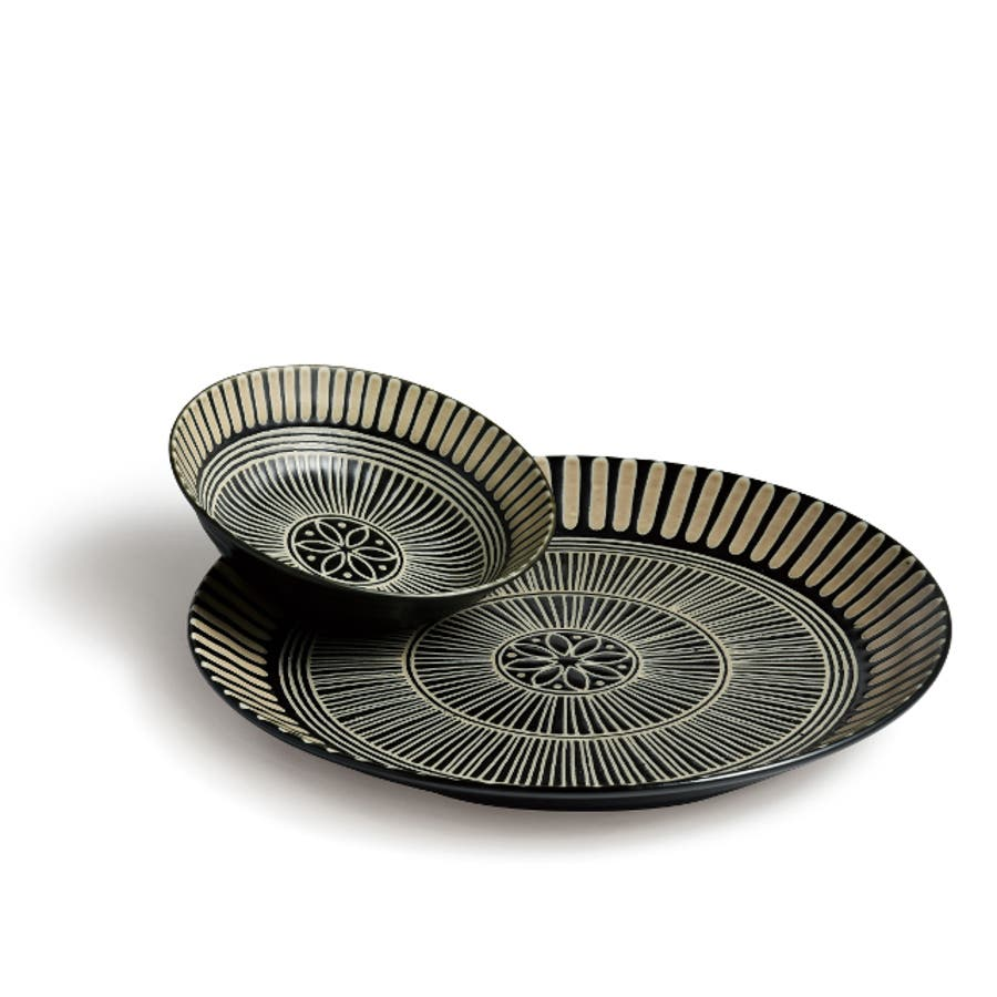 【日本製/美濃焼】サウサリート パーティセット 深皿2枚 小鉢4個 深皿径22x高4cm 小鉢径13.5x高4cm 2