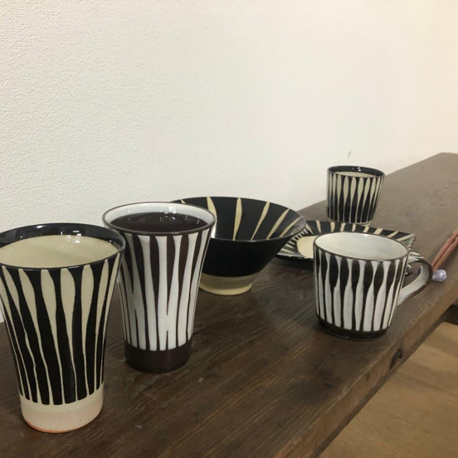 【日本製/美濃焼】鈴木陶苑 黒十草ペアフリーカップ 径9x12cm 2