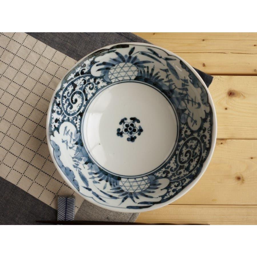 【日本製/美濃焼】染付網浜絵 ラーメン鉢 径19.5x高7cm 2