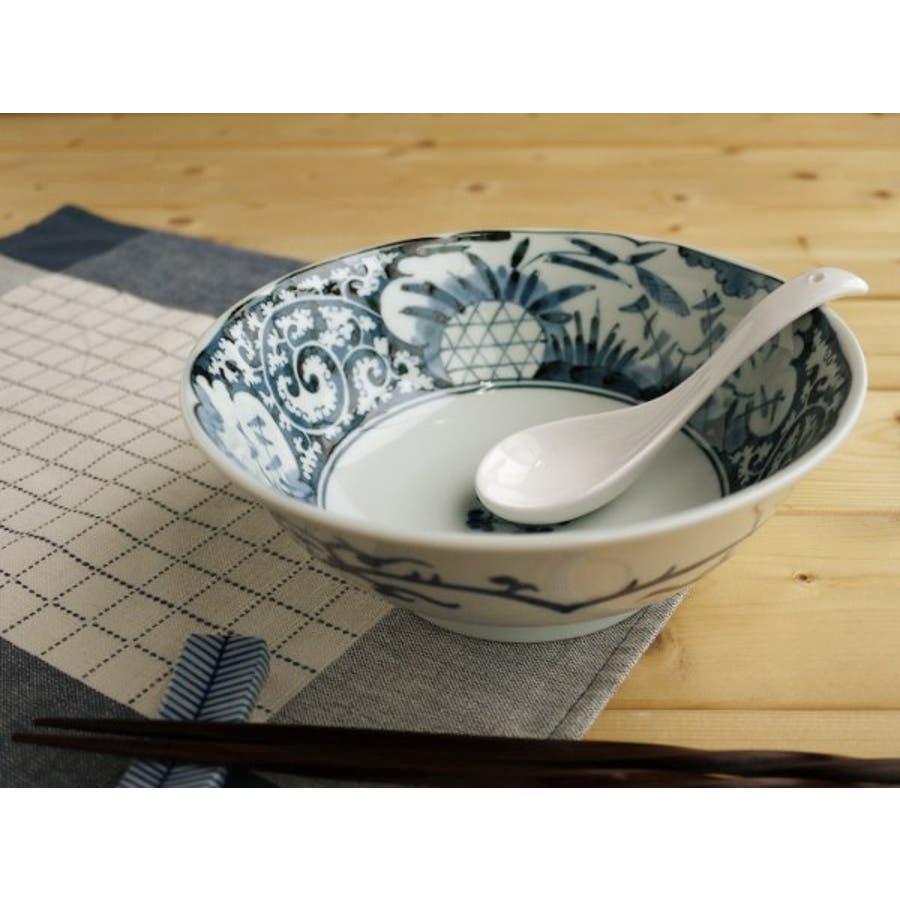【日本製/美濃焼】染付網浜絵 ラーメン鉢 径19.5x高7cm 1