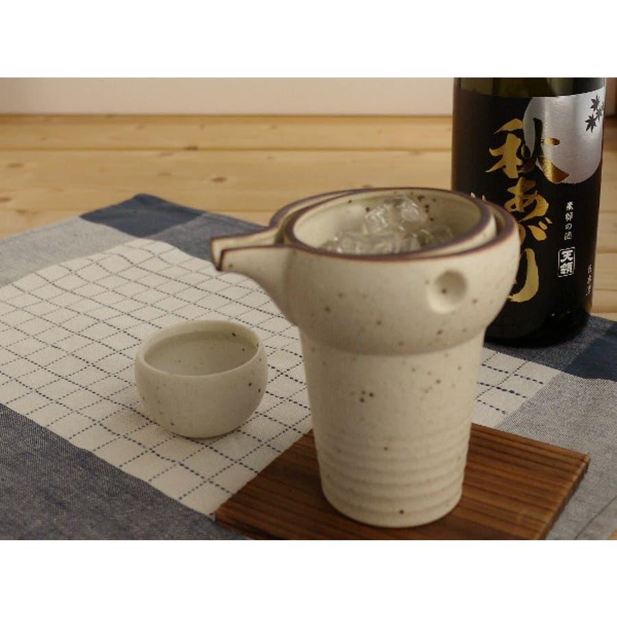 【日本製/美濃焼】ヤマ亮横井 ゆらり 冷酒器 1合・粉引 徳利&盃 1