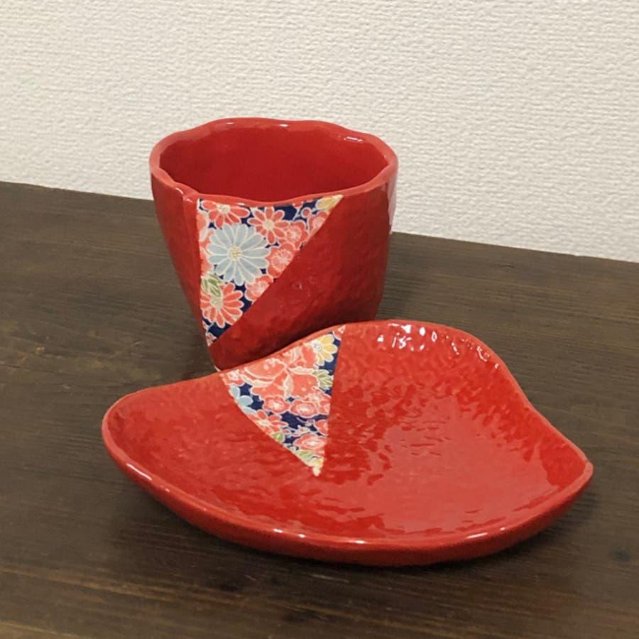 【日本製/美濃焼】四季友禅 コーヒーカップ&ソーサー 赤 碗径9x高8.5cm 230ml 3