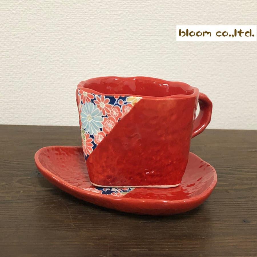 【日本製/美濃焼】四季友禅 コーヒーカップ&ソーサー 赤 碗径9x高8.5cm 230ml 1