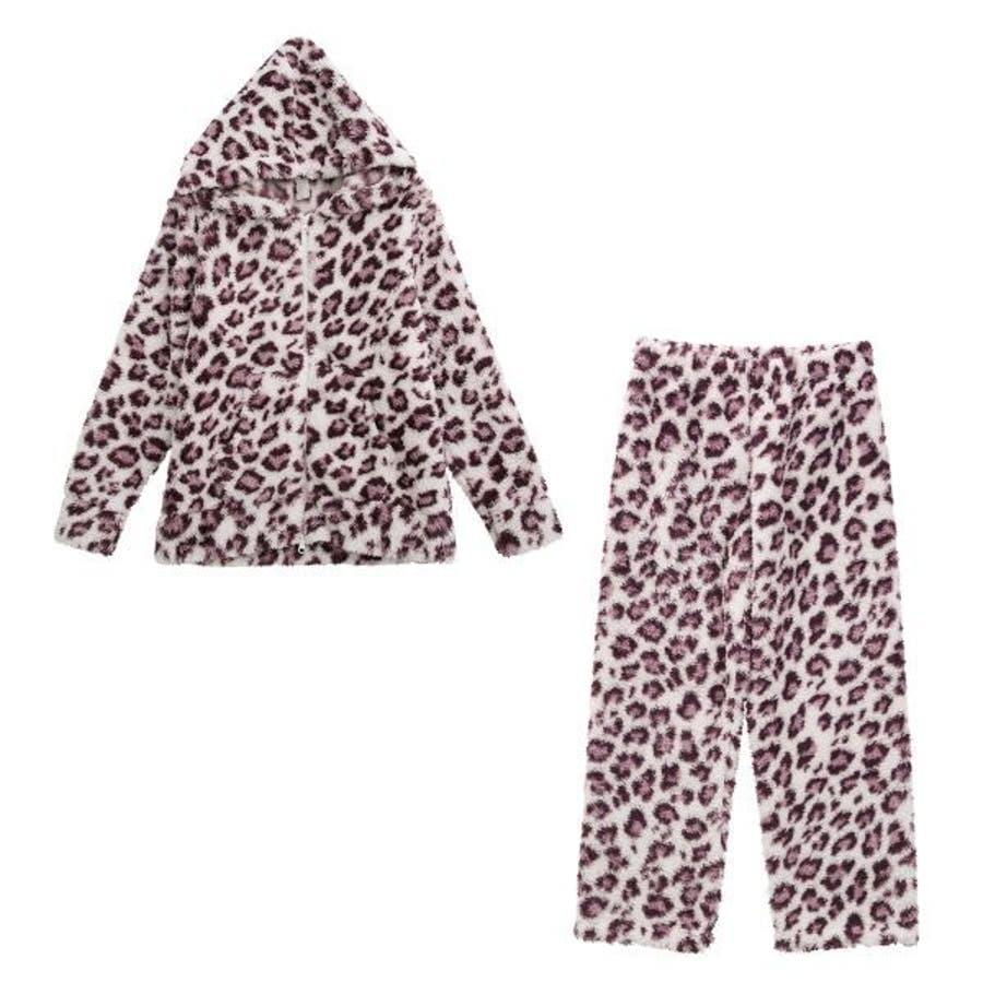 (ブルーミングフローラ)bloomingFLORA モコモコ ダブルzipパーカー+ロングパンツ 上下セット ボーダー 星柄 豹柄ルームウェア ボーダー柄 星柄 レオパード柄 豹柄 可愛い 長袖 セットアップ 108