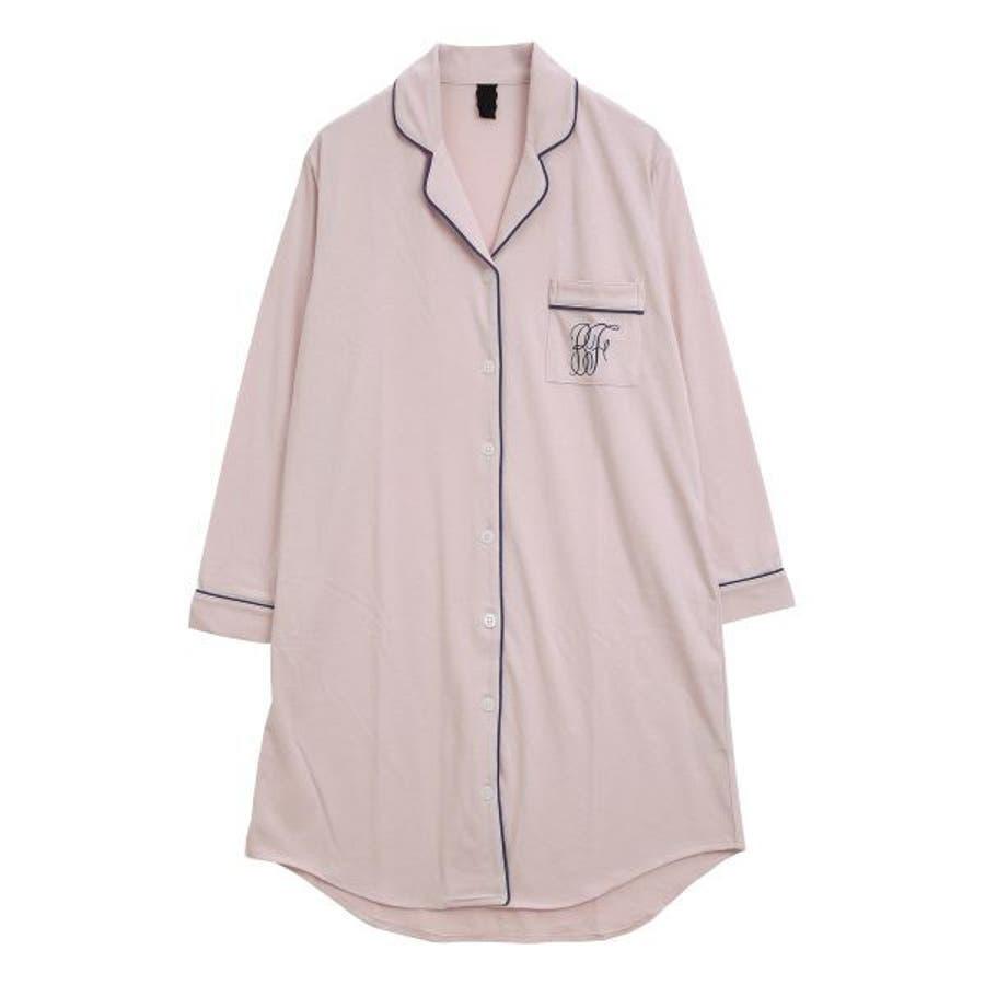 (ブルーミングフローラ)bloomingFLORA トロのびスリムに見える シャツ パジャマ ワンピース 長袖 ルームウェアナイティレディース [ シャツパジャマ パジャマシャツ シャツワンピース 襟付き 大人可愛い ] 87