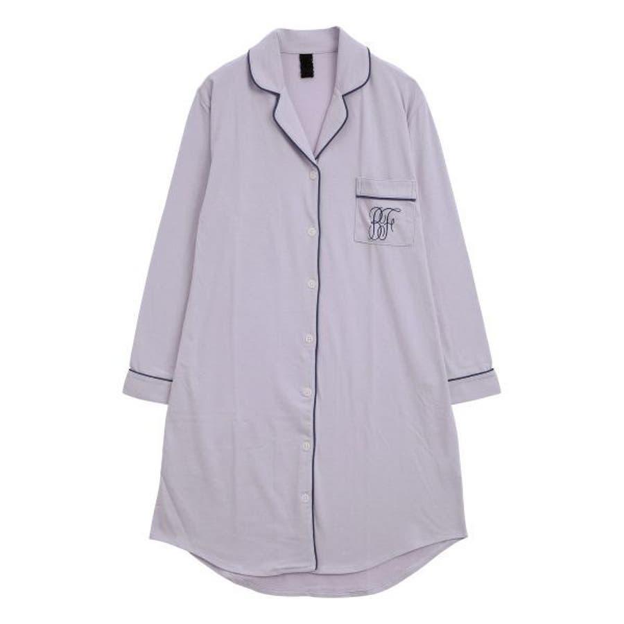(ブルーミングフローラ)bloomingFLORA トロのびスリムに見える シャツ パジャマ ワンピース 長袖 ルームウェアナイティレディース [ シャツパジャマ パジャマシャツ シャツワンピース 襟付き 大人可愛い ] 80