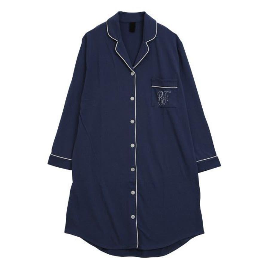 (ブルーミングフローラ)bloomingFLORA トロのびスリムに見える シャツ パジャマ ワンピース 長袖 ルームウェアナイティレディース [ シャツパジャマ パジャマシャツ シャツワンピース 襟付き 大人可愛い ] 64