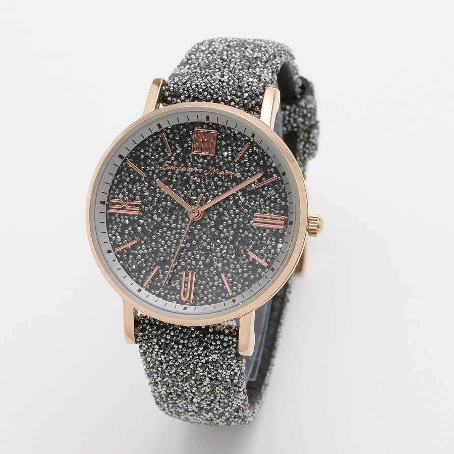 Salvatore Marra サルバトーレマーラ腕時計 替えベルト付きクリスタル素材ウォッチ SM18115-PGSV 1