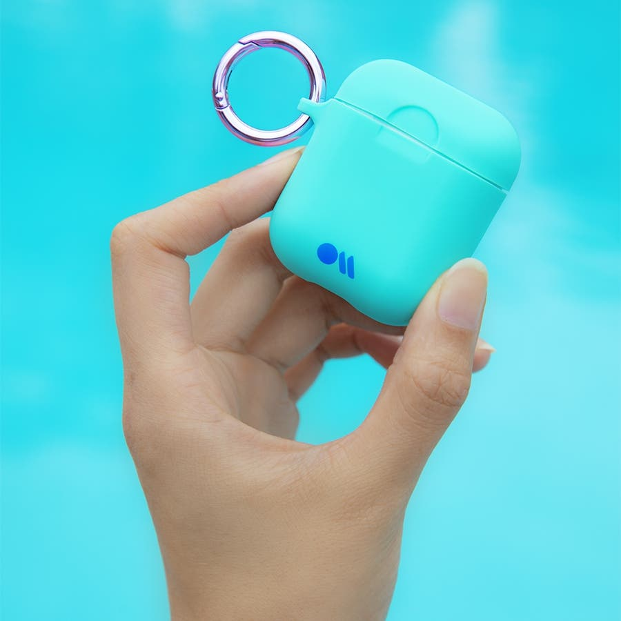 【AirPods 第1世代・第2世代対応・ワイレス充電もOK・ネックストラップ付】 AirPods Case Hook UpsSiliconeAqua Blue 1
