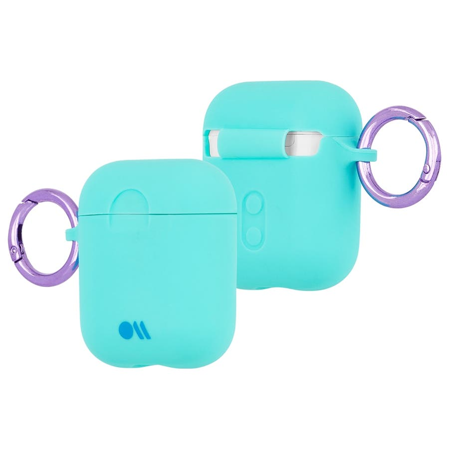 【AirPods 第1世代・第2世代対応・ワイレス充電もOK・ネックストラップ付】 AirPods Case Hook UpsSiliconeAqua Blue 3
