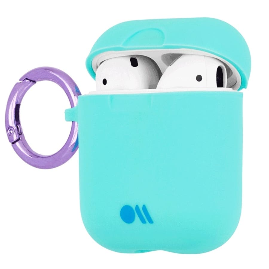 【AirPods 第1世代・第2世代対応・ワイレス充電もOK・ネックストラップ付】 AirPods Case Hook UpsSiliconeAqua Blue 5