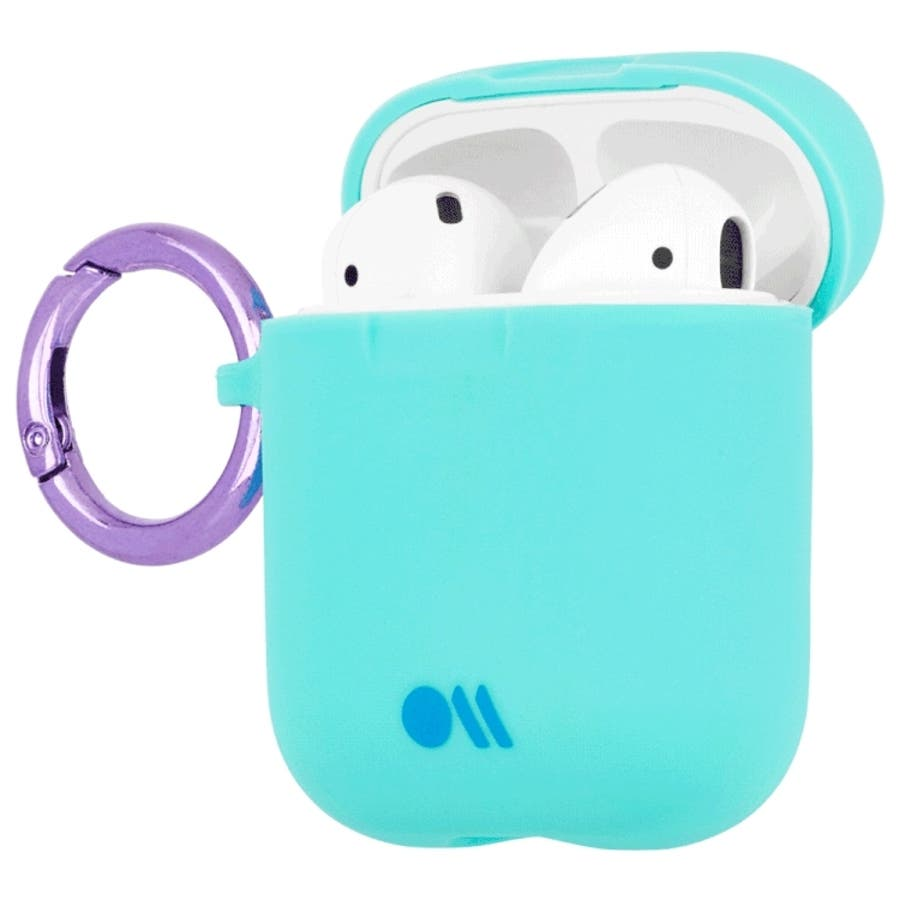【AirPods 第1世代・第2世代対応・ワイレス充電もOK・ネックストラップ付】 AirPods Case Hook UpsSiliconeAqua Blue 6